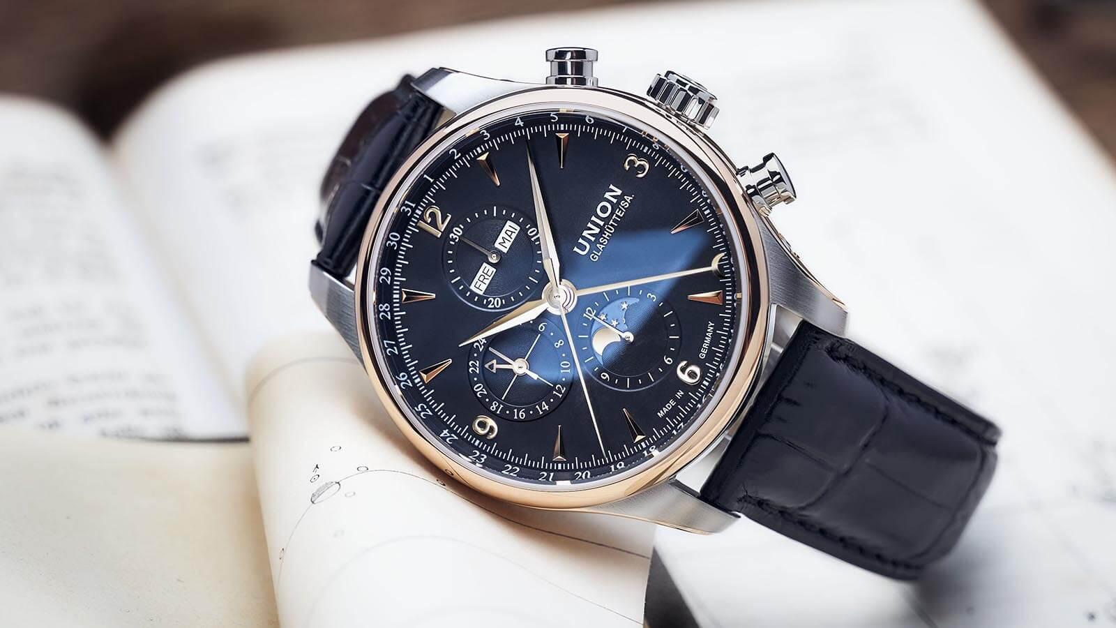 Belisar Chronograph Mondphase von Union Glashütte mit Lünette aus 18 Karat Roségold