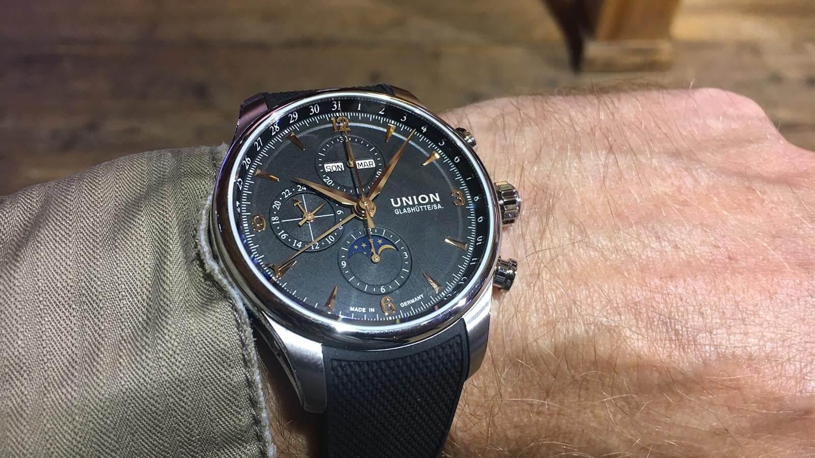 Wristshot vom Belisar Chronograph Mondphase von Union Glashütte