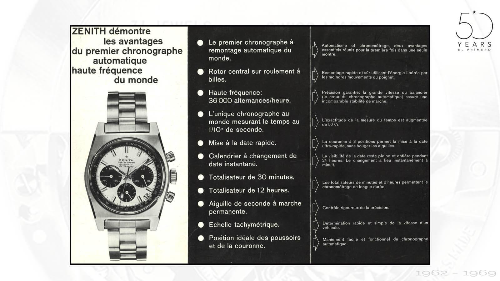Werbeanzeige für El Primero von Zenith um 1969 in französischer Sprache