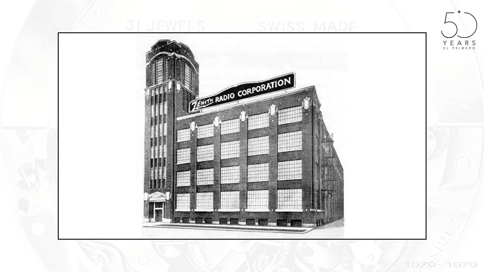 Firmengebäude der Zenith Radio Corporation in Boston