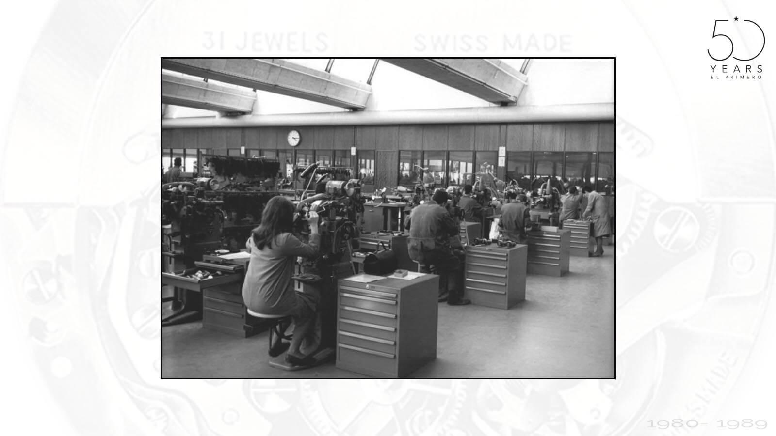 Arbeitspläte bei Dixi Polytool in den 1970er Jahren