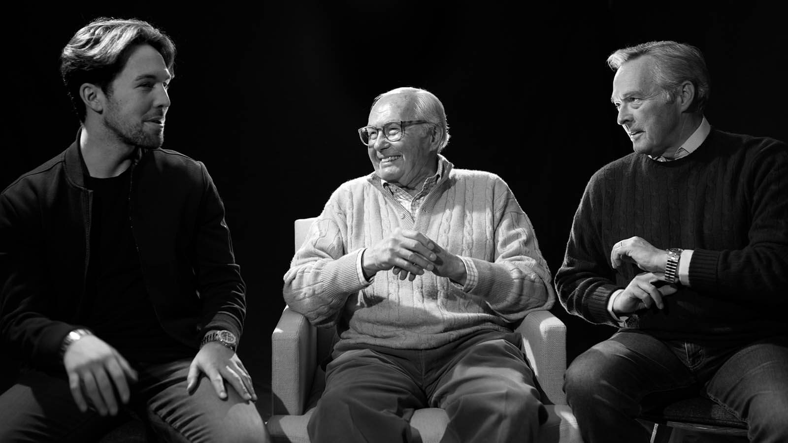 Drei Generationen der Familie Scheufele. Links Karl-Fritz Scheufele, Mitte Karl Scheufele, rechts Karl-Friedrich Scheufele