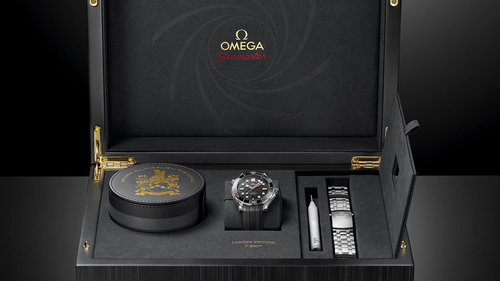 Box mit Wechselband, Bandwechselwerkzeug für die OMEGA Seamaster Diver 300 James Bond Limited Edition