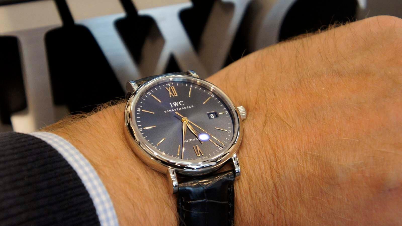 Edelstahl Variante der Uhren Models Portofino Automatic 40 mm von IWC Schaffhausen (RFZ. IW356523)