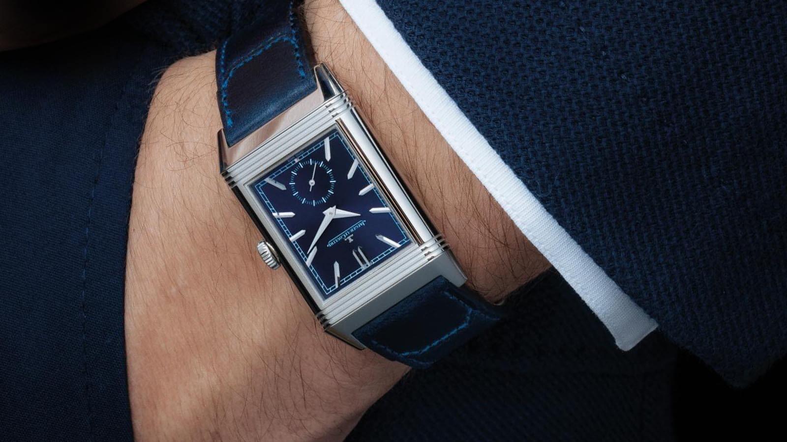 Elegante Uhr von Jaeger-LeCoultre, die auf jeder Seite eine eigene Zeitzone anzeigen kann