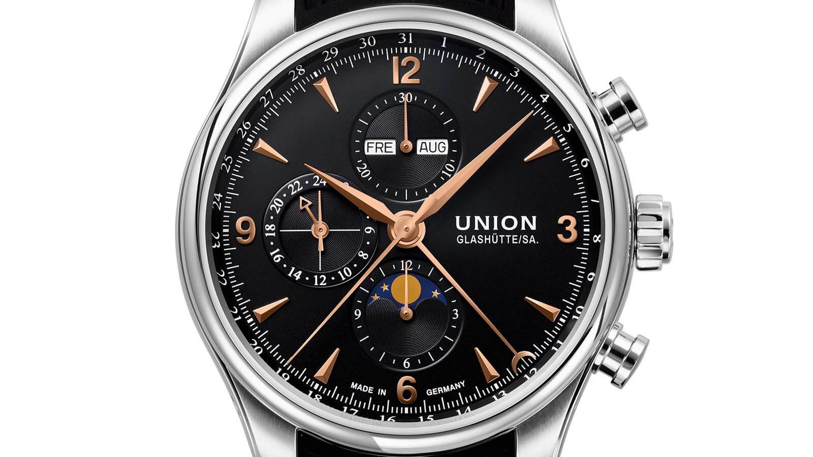 Detailansicht vom Zifferblatt des Belisar Chronograph Mondphase von Union Glashütte