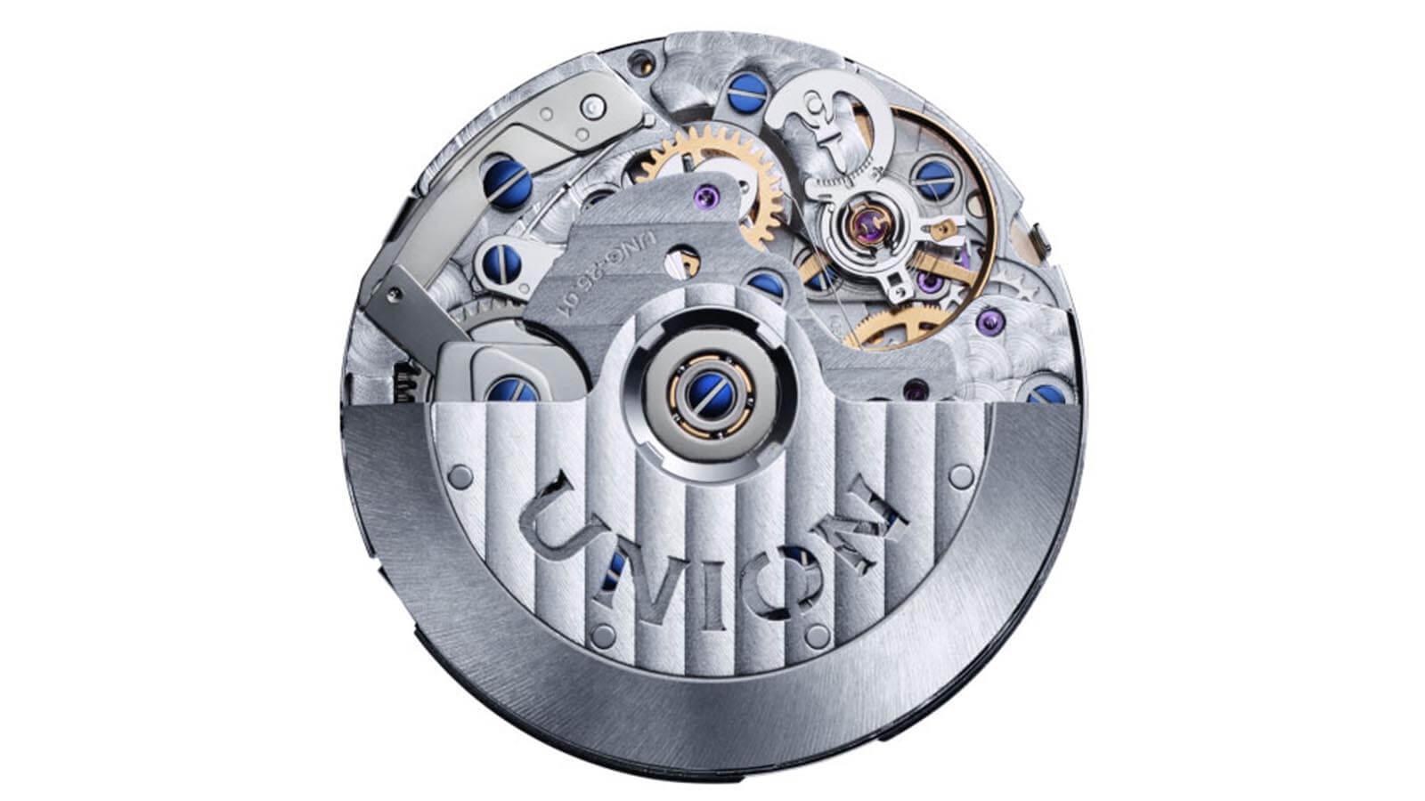 Kaliber UNG-15.01 das im Belisar Chronograph Mondphase von UNION Glashütte schlägt