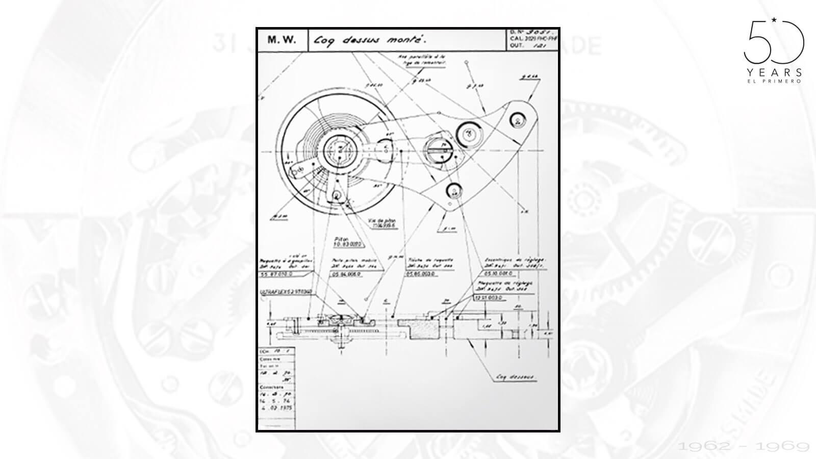 Erste technische Zeichnungen des El Primero