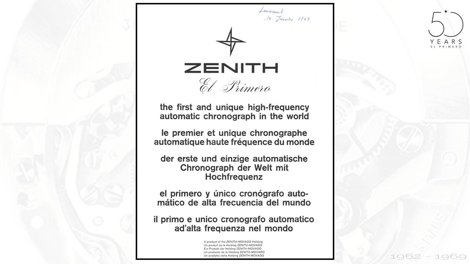 Presseaussendung für El Primero von Zenith um 1969