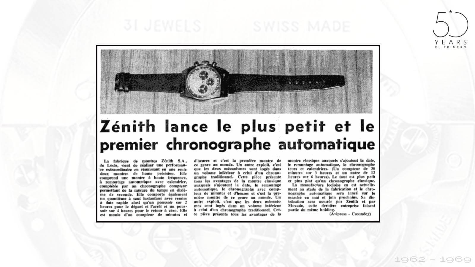 Zeitungsartikel für El Primero von Zenith um 1969