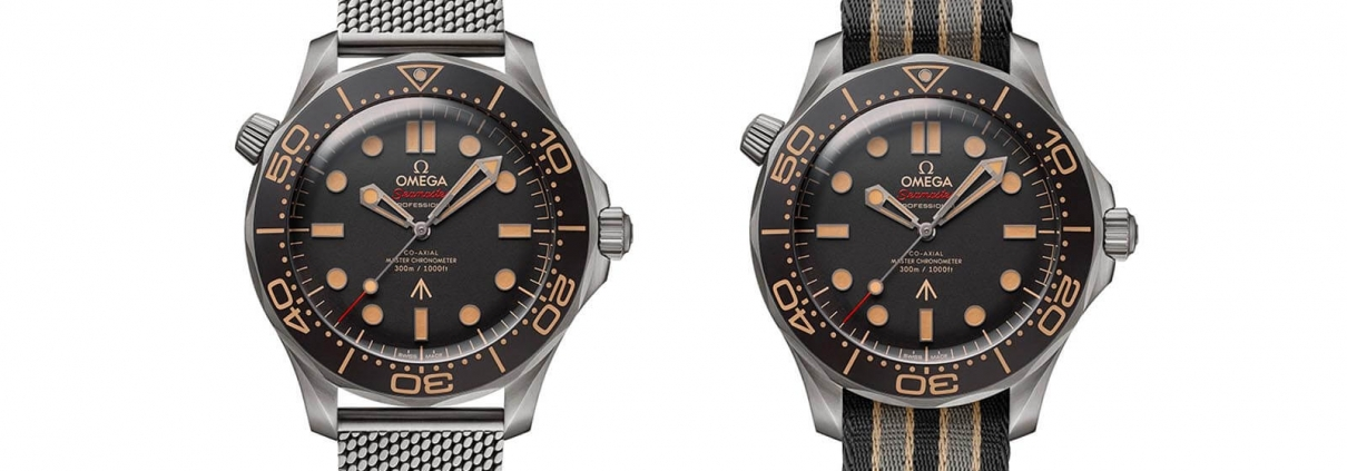 OMEGA Seamaster Diver 300M 007 Edition an Milaneseband (links) und an NATO-Band (rechts)