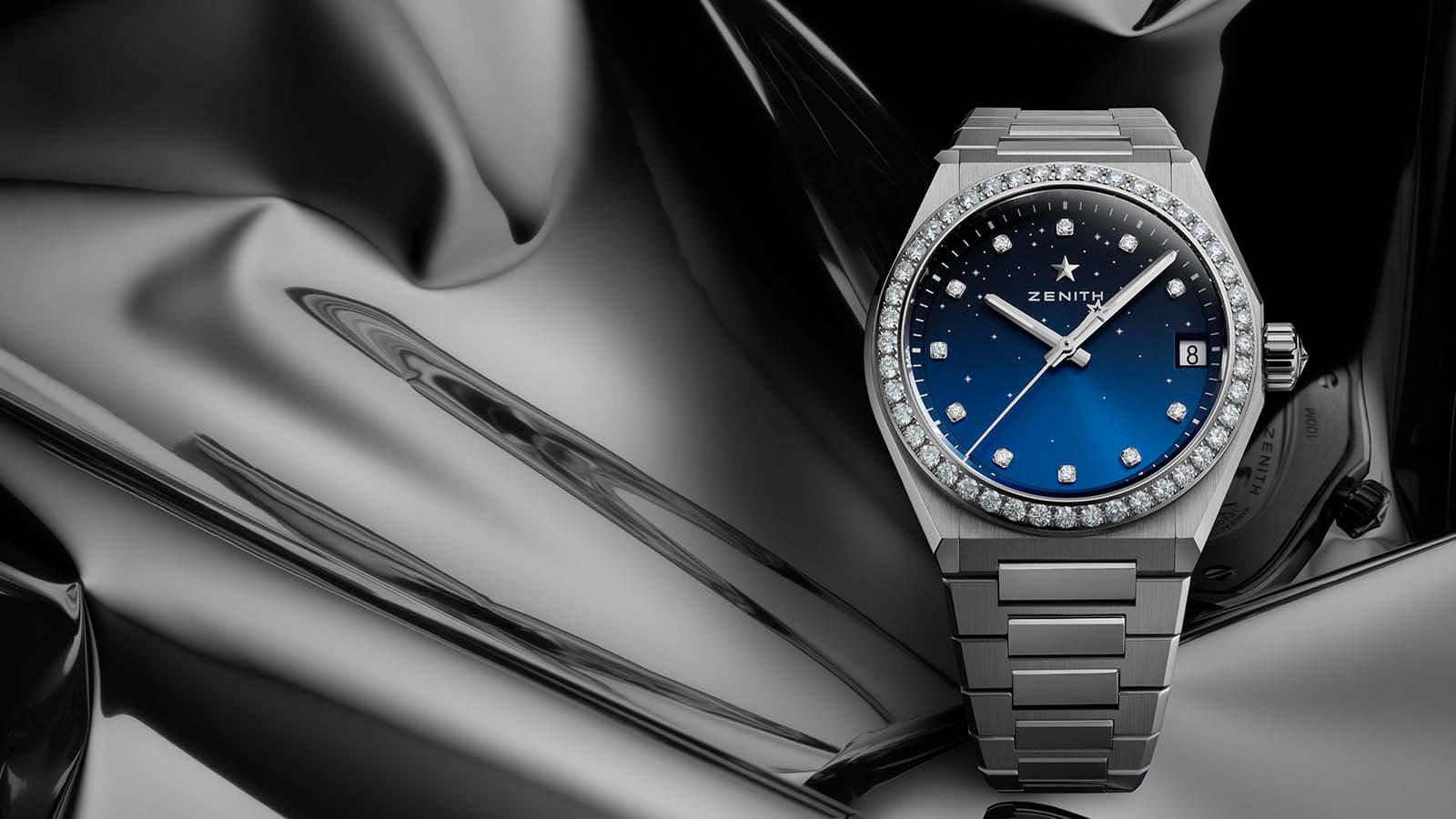 Zenith Defy Midnight mit blauem Zifferblatt und Diamantbesatz auf der Edelstahllünette