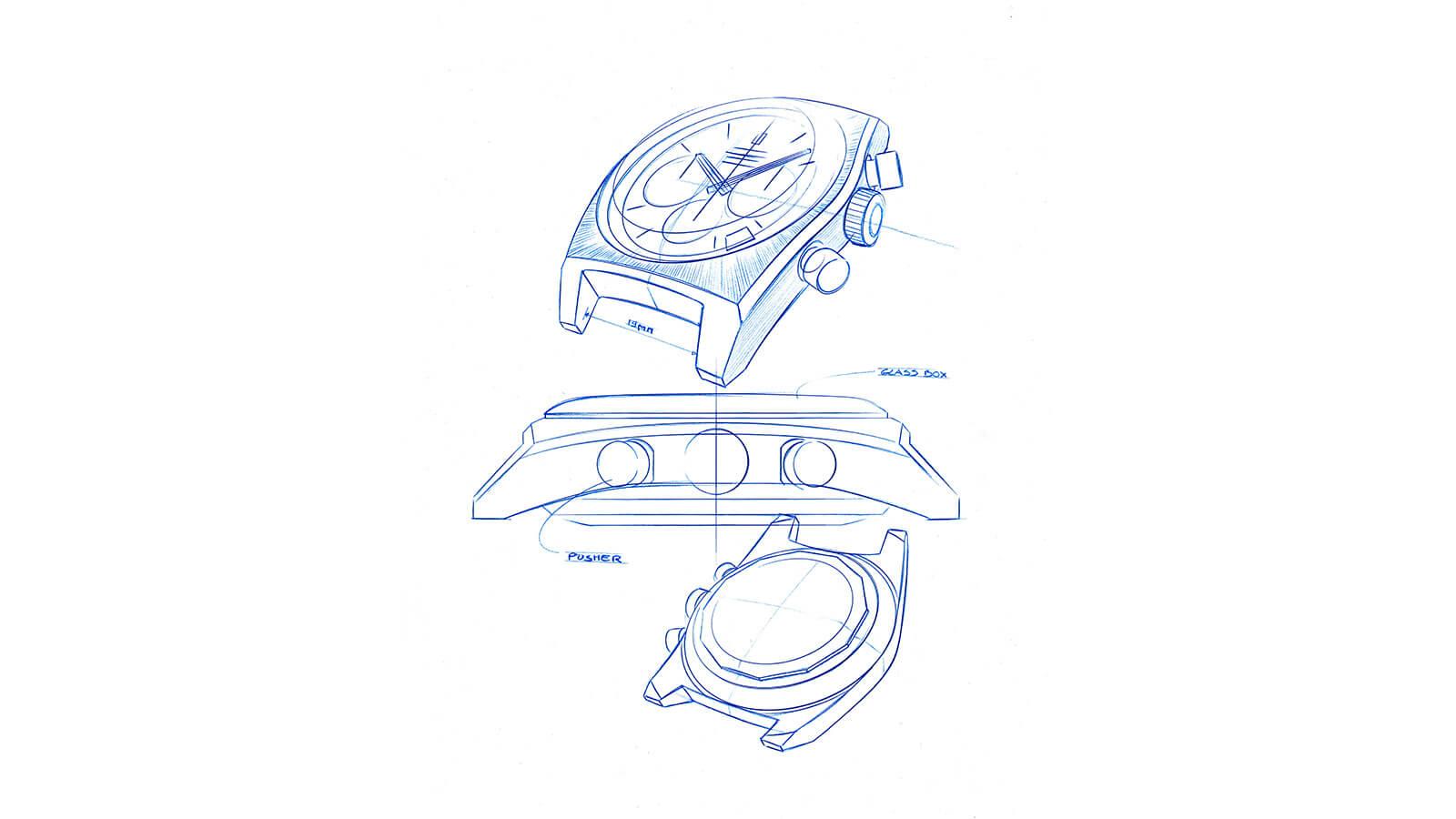 Designzeichnung der A384 Revival von ZENITH