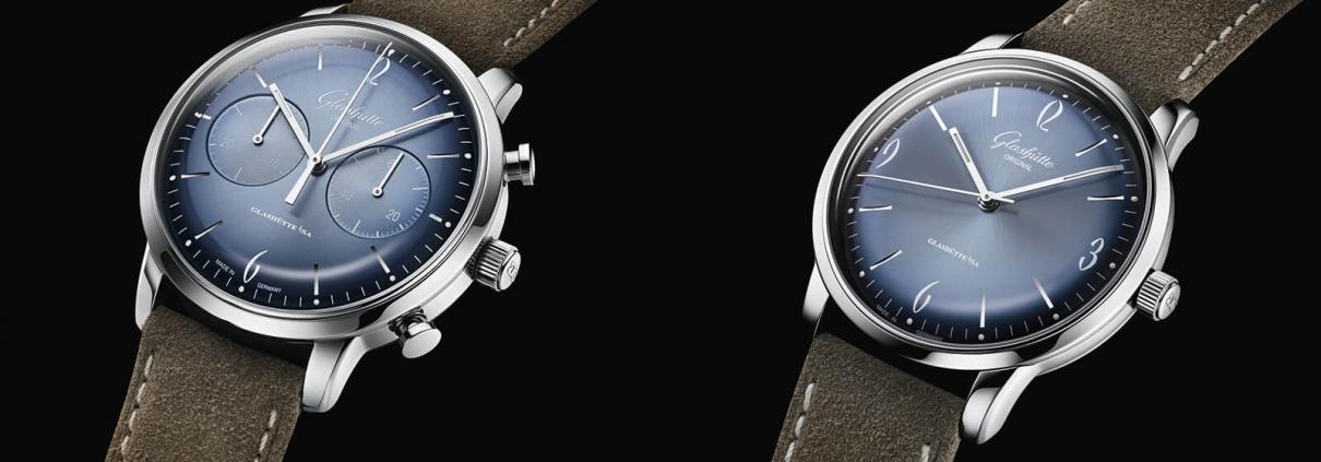 Links der Chronograph der Sixties Jahresedition 2020 und rechts das Dreizeigermodell