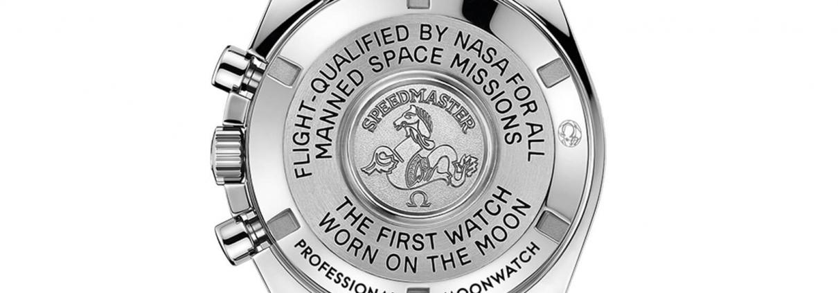 Gehäuseboden der OMEGA Speedmaster Moonwatch Professional mit Hesalitglas RFZ. 311.30.42.30.01.005
