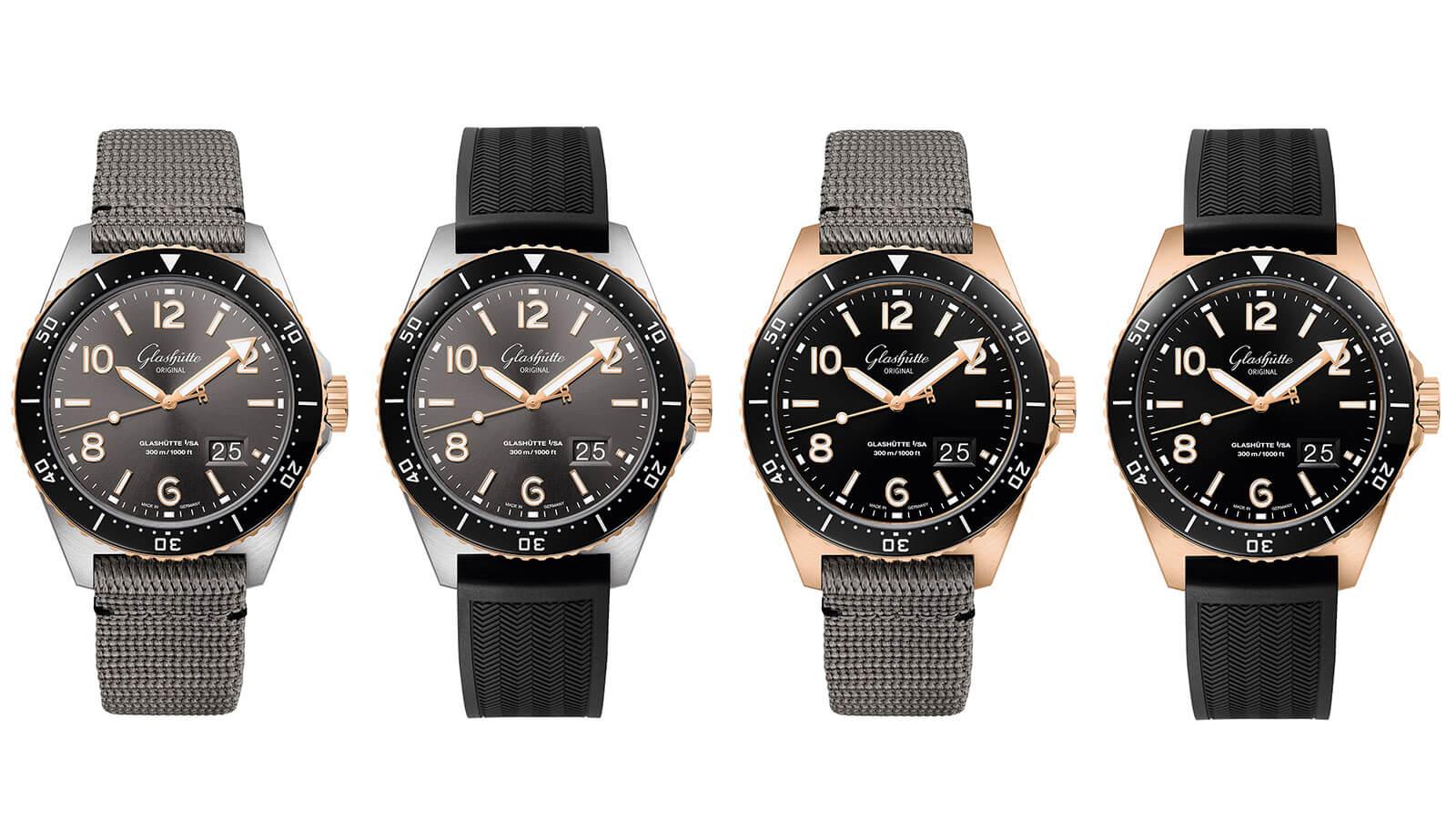 Die vier unterschiedlichen Varianten der neuenSeaQ Modelle aus der Spezialist Produktfamilie von Glashütte Orifinal