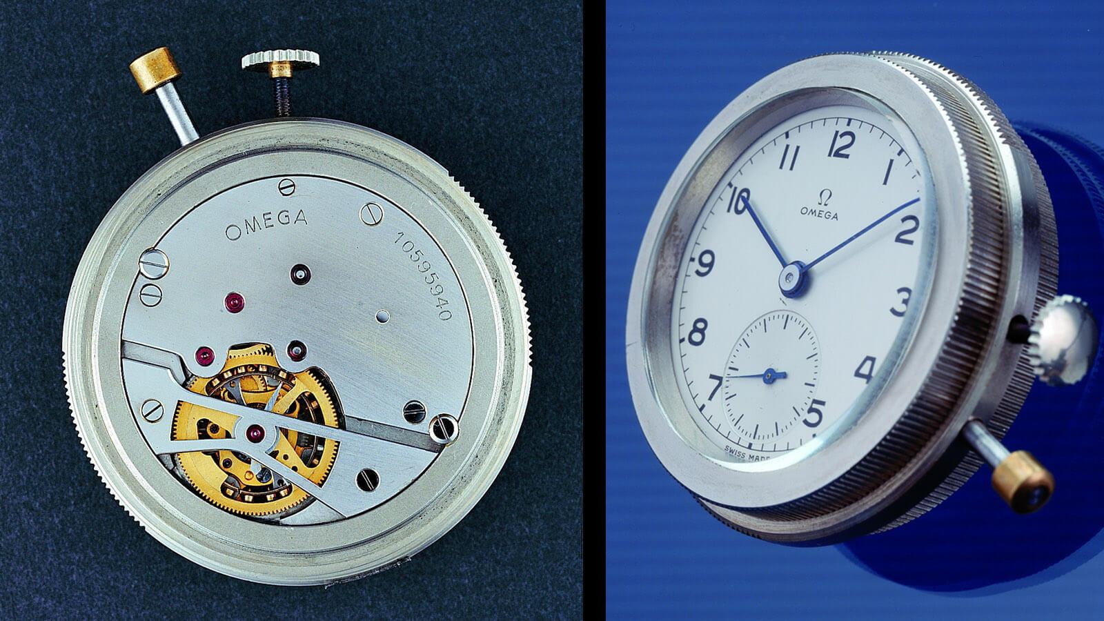 OMEGA Kaliber 30 I, dem weltweit ersten Tourbillon-Werk für Armbanduhren (Rückansicht und Vorderansicht)