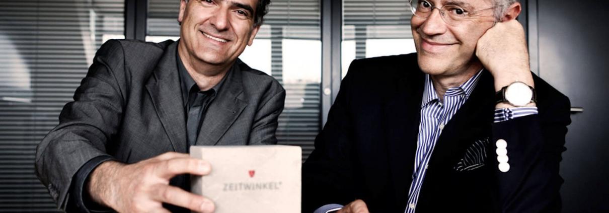 """Zwei der Gründer von ZEITWINKEL.CH, links Peter Nikolaus und rechts Ivica """"Maks"""" Maksimovic"""
