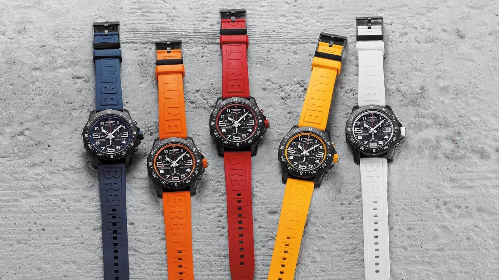 Fünf unterschiedliche Farben für die neuen Modelle der Breitling Endurance Pro Kollektion