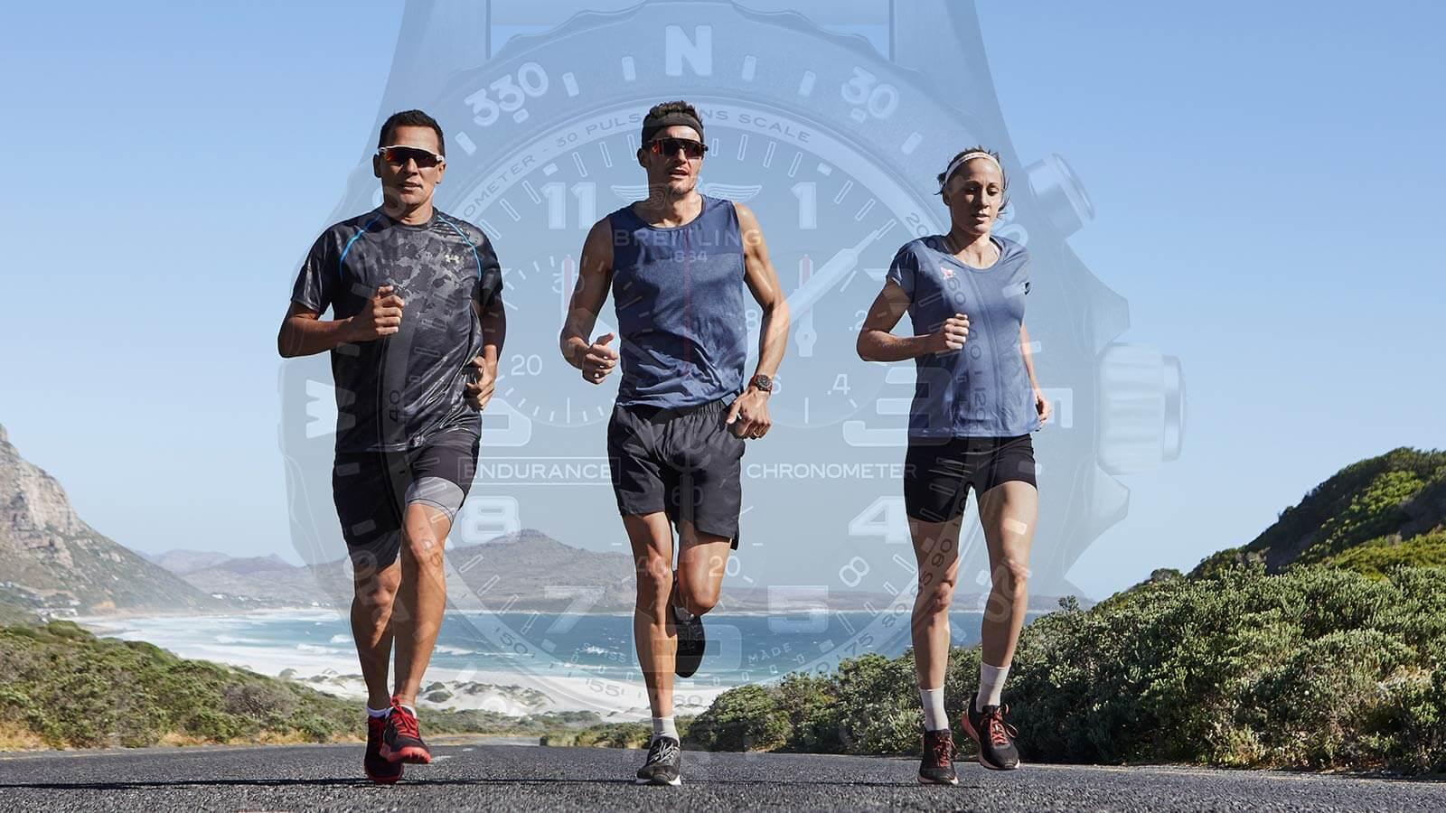 Die drei Sportler, die als Testimonials für die neue Endurance Pro von Breitling ausgewählt wurden. V.l.n.r.: Chris McCormack, Jan Frodeno, Daniela Ryf