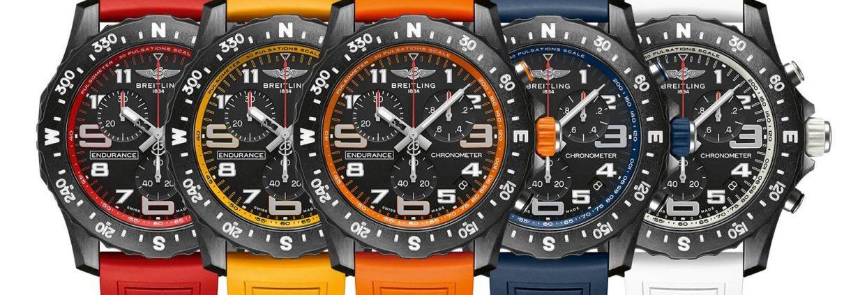 Alle fünf Modellvarainten der Endurance Pro von Breitling