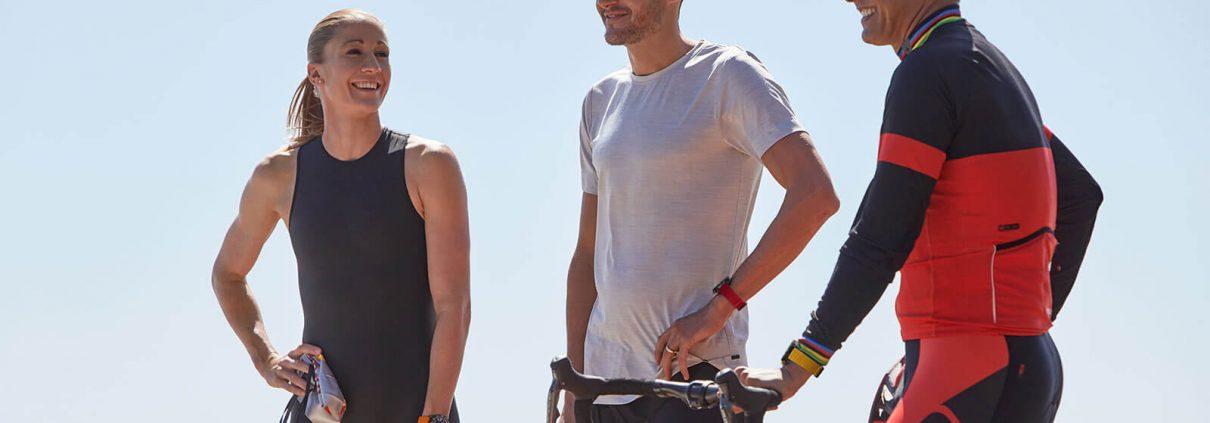 Die drei Sportler, die als Testimonials für die neue Endurance Pro von Breitling ausgewählt wurden. V.l.n.r.: Daniela Ryf, Jan Frodeno, Chris McCormack