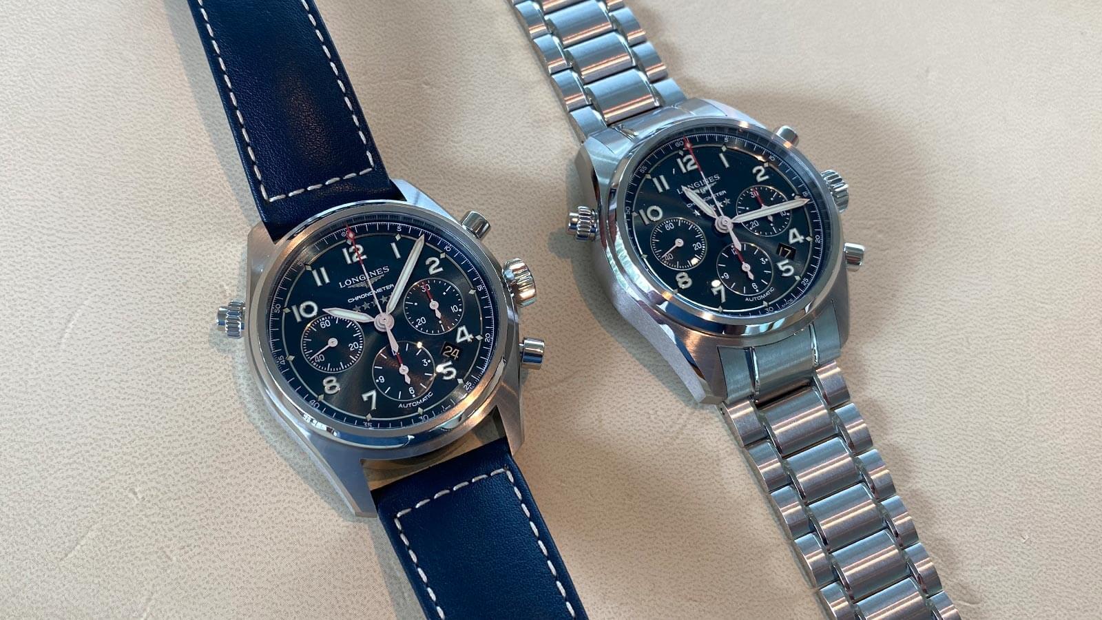 Für den Spirit Chronographen von Longines ist neben dem Lederarmband auch ein Stahlarmband verfügbar