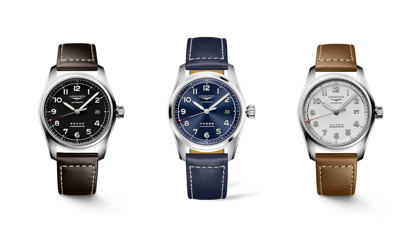 Die Spirit Automatic Modelle von Longines in den drei unterschiedlichen Zifferblattfarben: Schwarz, Blau, Weiß