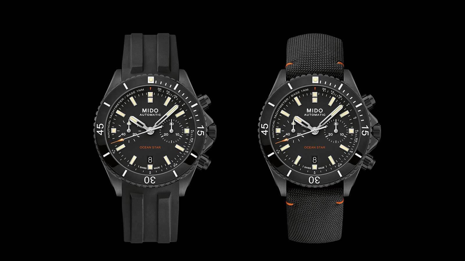 MIDO Ocean Star Chronograph links am Kautschukband und rechts an Gewebearmband